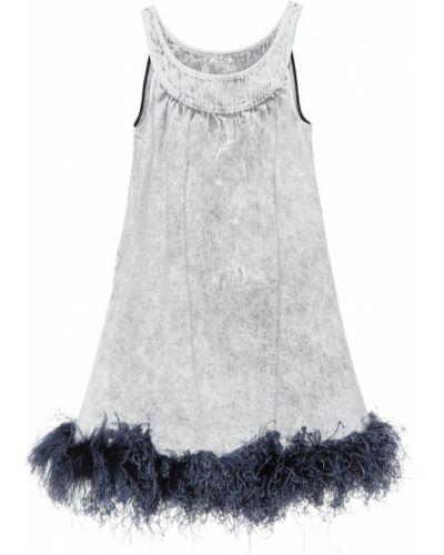 Джинсовое платье винтажная с перьями Miu Miu