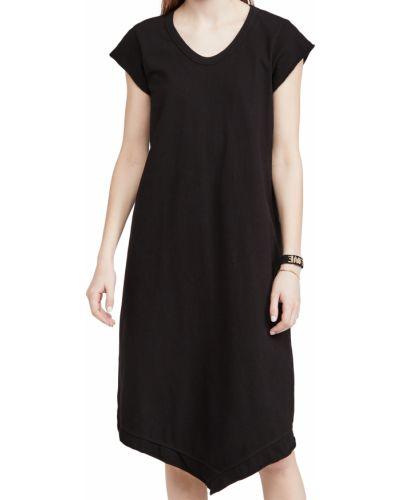 Трикотажное черное платье-рубашка с декольте Wilt