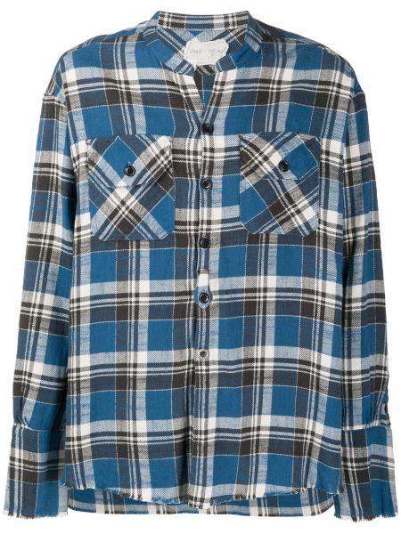 Niebieska koszula bawełniana z długimi rękawami Greg Lauren