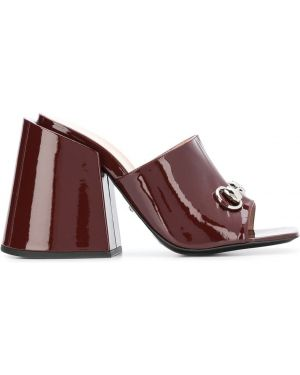 Кожаные домашние мюли на каблуке квадратные Gucci