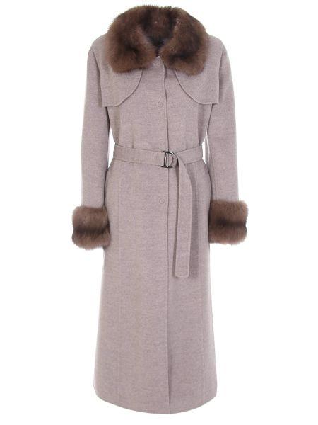 Приталенное шерстяное бежевое пальто с поясом Manzoni 24