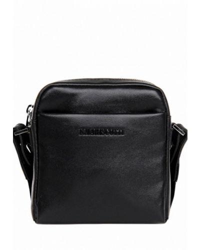 Черная кожаная сумка через плечо Franchesco Mariscotti