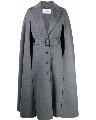 Серое кашемировое пальто с поясом Salvatore Ferragamo