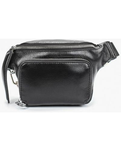 Черная поясная сумка из натуральной кожи Mallanee