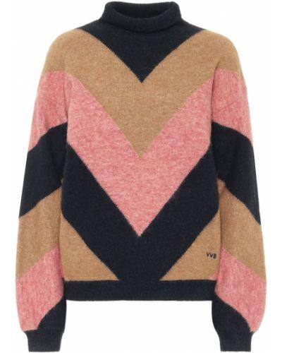 Шерстяной коричневый свитер с нашивками Victoria, Victoria Beckham