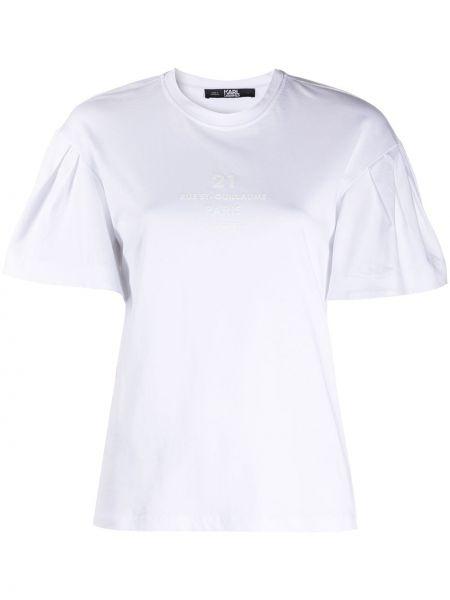Прямая с рукавами белая футболка Karl Lagerfeld