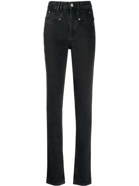 Bawełna bawełna jeansy na wysokości z kieszeniami chudy Isabel Marant