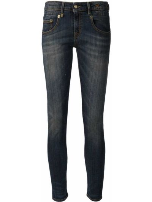 Кожаные синие зауженные джинсы-скинни R13