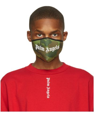 Белая трикотажная маска для лица на липучках Palm Angels