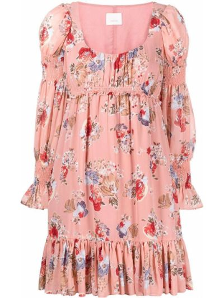 Платье в цветочный принт - розовое Cinq À Sept