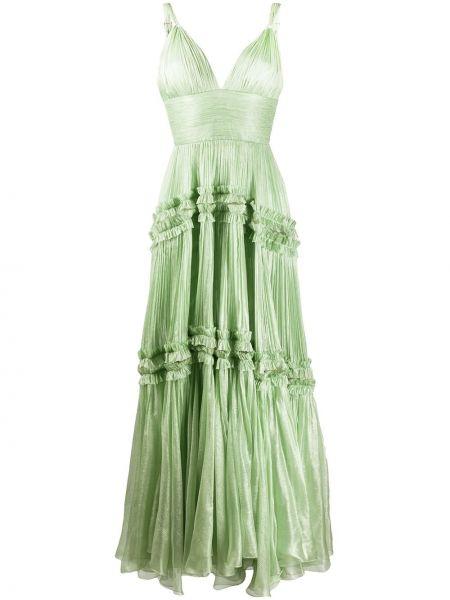 Вечернее платье плиссированное с V-образным вырезом Maria Lucia Hohan