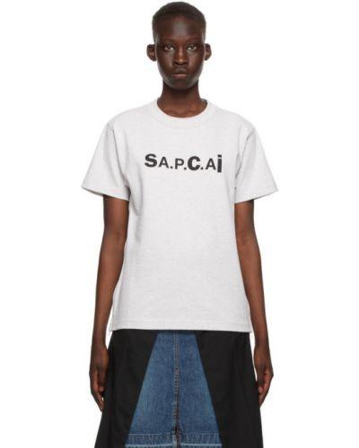Хлопковая черная футболка с воротником A.p.c.