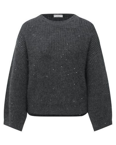 Серый шерстяной свитер Brunello Cucinelli