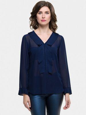 Блузка с длинным рукавом польская синяя Vera Moni