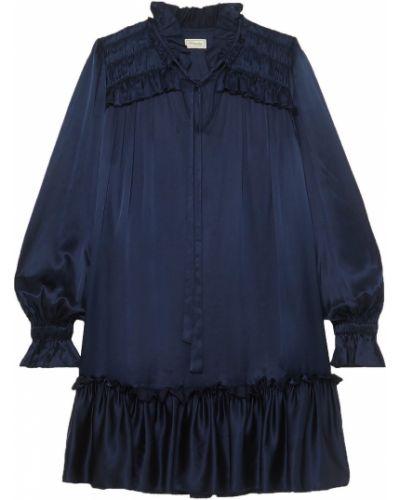 Шелковое платье мини с подкладкой с манжетами Temperley London