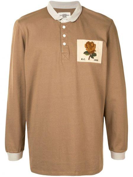 Brązowa koszula bawełniana z długimi rękawami Kent & Curwen