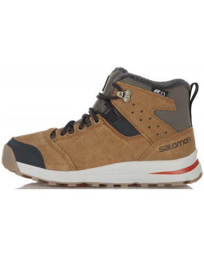 Треккинговые ботинки кожаные на тинсулейте Salomon