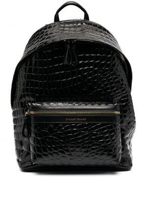 Черный кожаный рюкзак с карманами Giuliano Galiano
