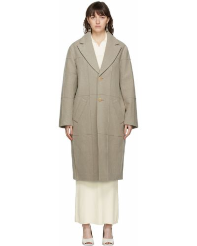 Długi płaszcz wełniany - beżowy Jacquemus