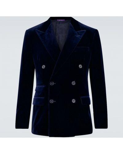 Бархатный синий пиджак двубортный Ralph Lauren Purple Label
