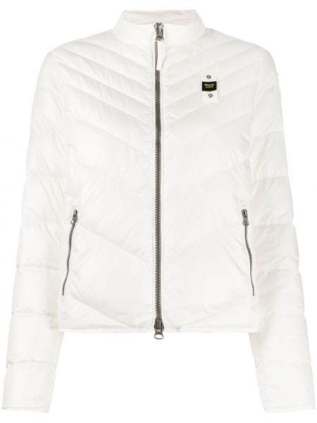 Белая прямая стеганая куртка на молнии с вышивкой Blauer