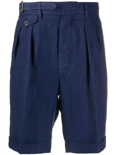 Niebieskie krótkie szorty z wysokim stanem z paskiem Lardini