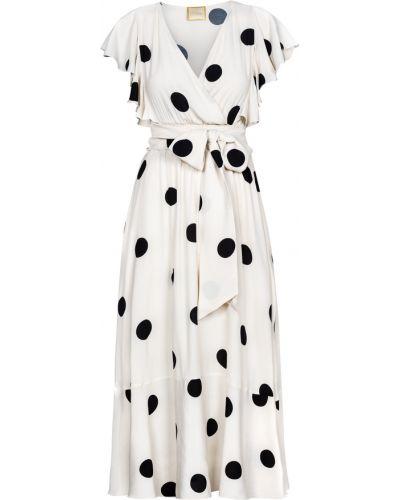 Biała sukienka rozkloszowana w grochy Swing Polish Fashion Concept