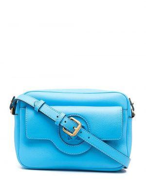 Синяя с ремешком кожаная косметичка Versace