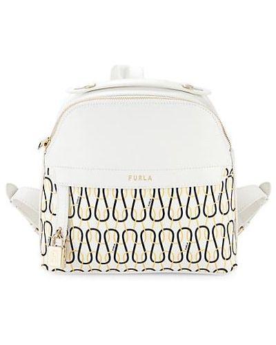 Кожаный рюкзак с карманами на бретелях Furla