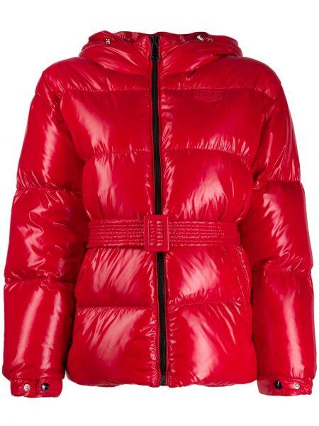 Красная длинная куртка с манжетами в рубчик Duvetica