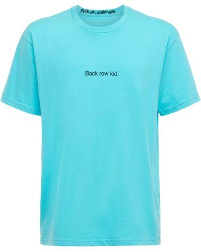 Niebieski t-shirt bawełniany Famt - Fuck Art Make Tees