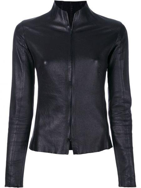 Прямая черная кожаная куртка на молнии с воротником Vanderwilt