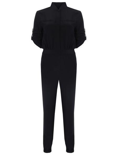 Черный нейлоновый брючный комбинезон на пуговицах с карманами Karl Lagerfeld