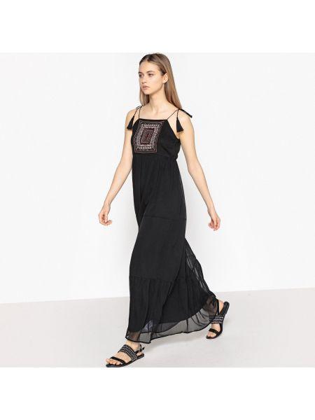 Платье макси с вышивкой на бретелях La Redoute Collections