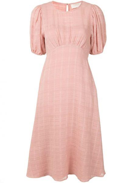 Розовое платье миди на резинке с короткими рукавами с круглым вырезом Auguste