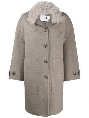 Серое кашемировое длинное пальто с воротником Manzoni 24