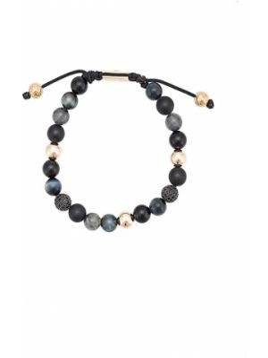 Черный браслет позолоченный Nialaya Jewelry