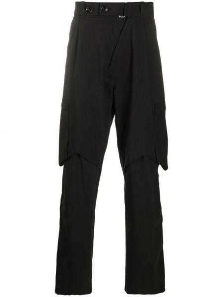 Czarne spodnie bawełniane z paskiem Kiko Kostadinov