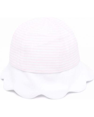 Biały kapelusz bawełniany w paski La Stupenderia