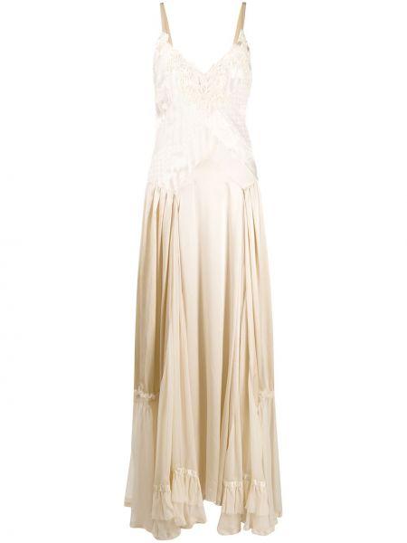 Beżowa sukienka długa koronkowa z wiskozy Antonio Marras