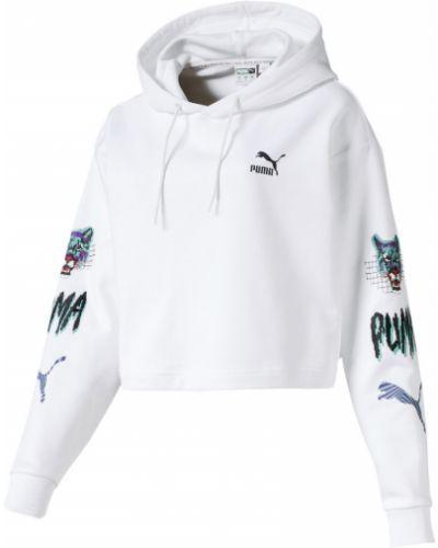 Белая толстовка с капюшоном с вышивкой Puma