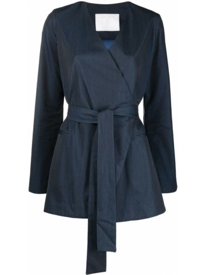 Хлопковый с рукавами синий удлиненный пиджак SociÉtÉ Anonyme