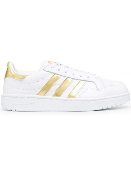 Biały ażurowy top zasznurować z paskami Adidas