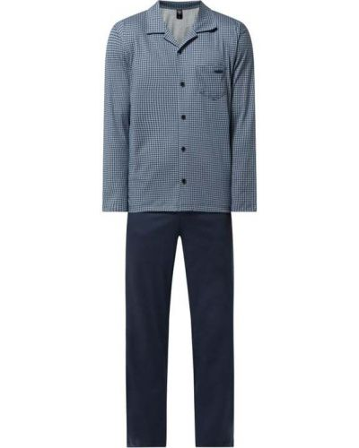 Niebieska spodni piżama bawełniana z długimi rękawami Calida