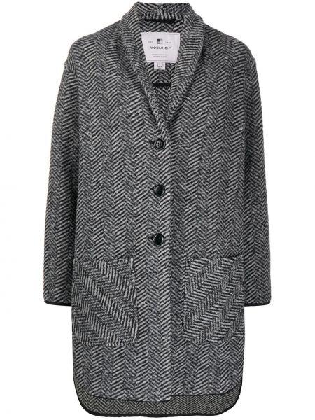 Черное однобортное шерстяное пальто на пуговицах Woolrich