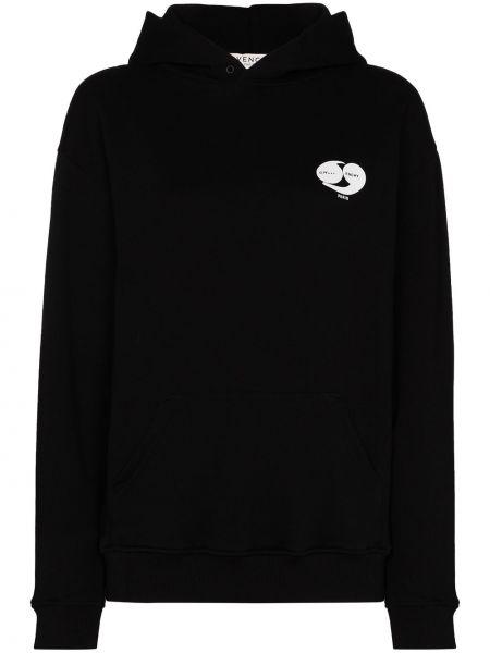 Bawełna z rękawami czarny bluza z kapturem z kapturem Givenchy