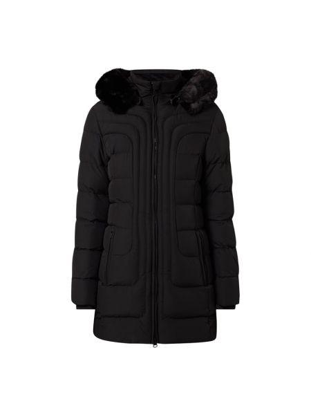 Czarny kurtka z kapturem z futrem z mankietami z kieszeniami Wellensteyn