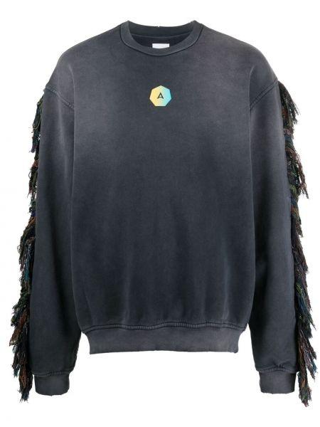 Czarna bluza długa bawełniana z długimi rękawami Alchemist