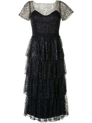 Нейлоновое черное коктейльное платье с короткими рукавами с глиттером Marchesa Notte