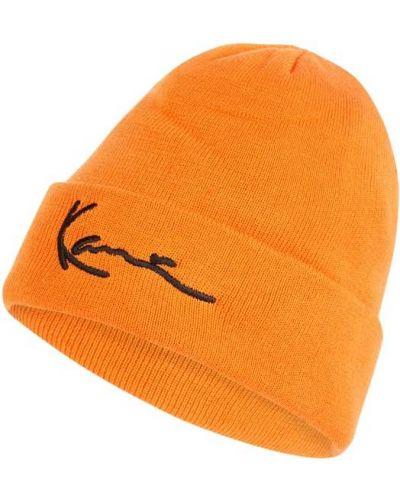 Pomarańczowa czapka beanie prążkowana Karl Kani